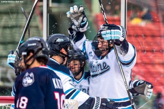 BOSTON, MA - JANUARY 14: Blaine Byron #89 of the University of Connecticut reacts after scoring a goal during a Frozen Fenway game against the University of Connecticut at Fenway Park on January 14, 2017 in Boston, Massachusetts. (Photo by Billie Weiss/Boston Red Sox/Getty Images) *** Local Caption *** Blaine Byron