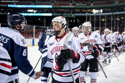 BOSTON, MA - JANUARY 14: Game action during a Frozen Fenway game between Northeastern University and University of New Hampshire at Fenway Park on January 14, 2017 in Boston, Massachusetts. (Photo by Billie Weiss/Boston Red Sox/Getty Images) *** Local Caption ***