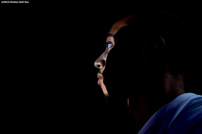 January 20, 2017, Ledyard, CT: Boston Red Sox outfielder Mookie Betts looks on from backstage before being introduced at the sixth annual NESN Town Hall during during the 2017 Red Sox Winter Weekend at Foxwoods Resort & Casino in Ledyard, Connecticut Friday, January 20, 2017. (Photo by Billie Weiss/Boston Red Sox)