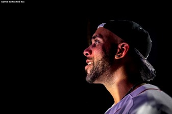January 20, 2017, Ledyard, CT: Boston Red Sox pitcher David Price looks on before being introduced at the sixth annual NESN Town Hall during during the 2017 Red Sox Winter Weekend at Foxwoods Resort & Casino in Ledyard, Connecticut Friday, January 20, 2017. (Photo by Billie Weiss/Boston Red Sox)