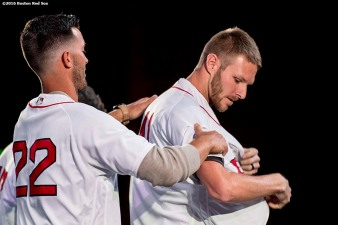 January 20, 2017, Ledyard, CT: Boston Red Sox pitcher Rick Porcello puts on a jersey for pitcher Chris Sale at the sixth annual NESN Town Hall during during the 2017 Red Sox Winter Weekend at Foxwoods Resort & Casino in Mashantucket, Connecticut Friday, January 20, 2017. (Photo by Billie Weiss/Boston Red Sox)