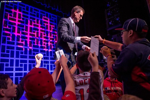 January 20, 2017, Ledyard, CT: Boston Red Sox President Sam Kennedy signs autographs for fans at the sixth annual NESN Town Hall during during the 2017 Red Sox Winter Weekend at Foxwoods Resort & Casino in Ledyard, Connecticut Friday, January 20, 2017. (Photo by Billie Weiss/Boston Red Sox)