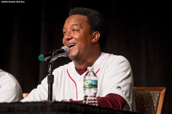 January 21, 2017, Ledyard, CT: Former Boston Red Sox pitcher Pedro Martinez speaks in a 'Call to the Hall' panel during the 2017 Red Sox Winter Weekend at Foxwoods Resort & Casino in Ledyard, Connecticut Saturday, January 21, 2017. (Photo by Billie Weiss/Boston Red Sox)