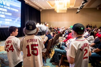 January 21, 2017, Ledyard, CT: Young fans wait to ask a question in a 'Call to the Hall' panel during the 2017 Red Sox Winter Weekend at Foxwoods Resort & Casino in Ledyard, Connecticut Saturday, January 21, 2017. (Photo by Billie Weiss/Boston Red Sox)