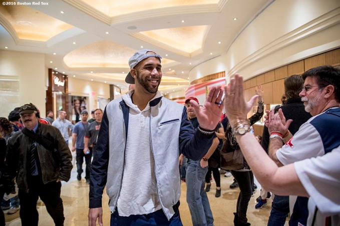 January 21, 2017, Ledyard, CT: Boston Red Sox pitcher David Price high fives fans during the 2017 Red Sox Winter Weekend at Foxwoods Resort & Casino in Ledyard, Connecticut Saturday, January 21, 2017. (Photo by Billie Weiss/Boston Red Sox)