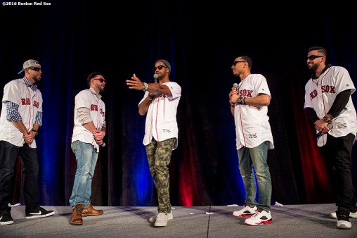 January 21, 2017, Ledyard, CT: Boston Red Sox pitcher Matt Barnes, catcher Blake Swihart, outfielder Chris Young, right fielder Mookie Betts, and infielder Deven Marrero dance during the players vs. coaches game show during the 2017 Red Sox Winter Weekend at Foxwoods Resort & Casino in Ledyard, Connecticut Saturday, January 21, 2017. (Photo by Billie Weiss/Boston Red Sox)