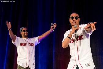 January 21, 2017, Ledyard, CT: Boston Red Sox outfielder Chris Young and right fielder Mookie Betts, dance during the players vs. coaches game show during the 2017 Red Sox Winter Weekend at Foxwoods Resort & Casino in Ledyard, Connecticut Saturday, January 21, 2017. (Photo by Billie Weiss/Boston Red Sox)