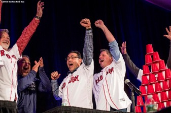 January 21, 2017, Ledyard, CT: Boston Red Sox pitching coach Carl Willis, assistant hitting coach Victor Rodriguez, first base coach Ruben Amaro Jr., bench coach Gary DiSarcina, and bullpen coach Dana LeVangie react after winning a competition during the players vs. coaches game show during the 2017 Red Sox Winter Weekend at Foxwoods Resort & Casino in Mashantucket, Connecticut Saturday, January 21, 2017. (Photo by Billie Weiss/Boston Red Sox)