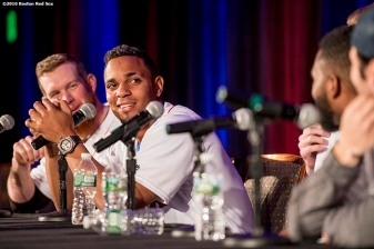 January 21, 2017, Ledyard, CT: Boston Red Sox shortstop Xander Bogaerts speaks in the Kids Press Conference during the 2017 Red Sox Winter Weekend at Foxwoods Resort & Casino in Mashantucket, Connecticut Saturday, January 21, 2017. (Photo by Billie Weiss/Boston Red Sox)