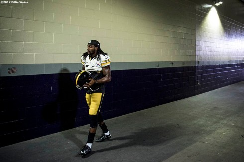 January 22, 2017, Foxboro, MA: Pittsburgh Steelers wide receiver Sammie Coates walks throw the tunnel before the AFC Championship Game against the New England Patriots at Gillette Stadium in Foxboro, Massachusetts Sunday, January 22, 2017. (Photo by Billie Weiss)