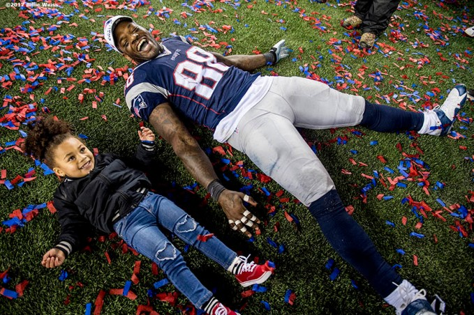 January 22, 2017, Foxboro, MA: New England Patriots tight end Martellus Bennett celebrates with his daughter Austyn Jett Rose Bennett after defeating the Pittsburgh Steelers in the AFC Championship Game at Gillette Stadium in Foxboro, Massachusetts Sunday, January 22, 2017. (Photo by Billie Weiss)