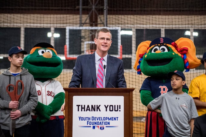 January 25, 2017, Boston, MA: Boston Red Sox President Sam Kennedy speaks during the unveiling of a new indoor batting cage at the BCYFTobin Community Center in Roxbury Crossing, Massachusetts Wednesday, January 25, 2017. (Photos by Billie Weiss/Boston Red Sox)