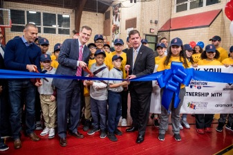 January 25, 2017, Boston, MA: Boston Red Sox President Sam Kennedy and Boston Mayor Martin J. Walsh participate in a ribbon cutting ceremony during the unveiling of a new indoor batting cage at the BCYFTobin Community Center in Roxbury Crossing, Massachusetts Wednesday, January 25, 2017. (Photos by Billie Weiss/Boston Red Sox)