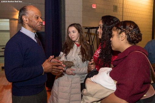 January 27, 2017, Boston, MA: Former Boston Red Sox player Tommy Harper speaks to students during a Jackie Robinson Day recognition event at Charlestown High School in Boston, Massachusetts Friday, January 27, 2017. (Photo by Billie Weiss/Boston Red Sox)