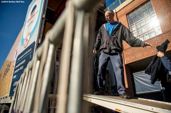 February 6, 2017, Boston, MA: Boxes are loaded into the truck during Truck Day at Fenway Park in Boston, Massachusetts Monday, February 6, 2017. (Photo by Billie Weiss/Boston Red Sox)