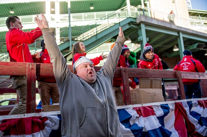 February 6, 2017, Boston, MA: A fan reacts during Truck Day at Fenway Park in Boston, Massachusetts Monday, February 6, 2017. (Photo by Billie Weiss/Boston Red Sox)