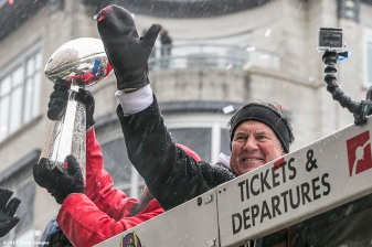 BOSTON, MA - FEBRUARY 07: Head coach Bill Belichick of the New England Patriots reacts during the Super Bowl victory parade on February 7, 2017 in Boston, Massachusetts. The Patriots defeated the Atlanta Falcons 34-28 in overtime in Super Bowl 51. (Photo by Billie Weiss/Getty Images) *** Local Caption *** Bill Belichick