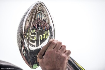 BOSTON, MA - FEBRUARY 07: The Vince Lombardi trophy is held during the New England Patriots Super Bowl victory parade on February 7, 2017 in Boston, Massachusetts. The Patriots defeated the Atlanta Falcons 34-28 in overtime in Super Bowl 51. (Photo by Billie Weiss/Getty Images) *** Local Caption ***