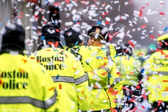 BOSTON, MA - FEBRUARY 07: Members of the Boston Police react during the Super Bowl victory parade on February 7, 2017 in Boston, Massachusetts. The Patriots defeated the Atlanta Falcons 34-28 in overtime in Super Bowl 51. (Photo by Billie Weiss/Getty Images) *** Local Caption ***