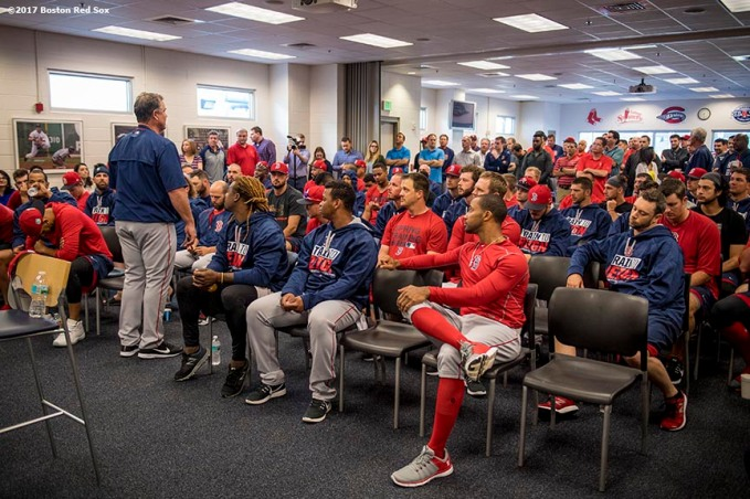 FT. MYERS, FL - FEBRUARY 17: Members of the Boston Red Sox have a team meeting before a workout on February 17, 2017 at Fenway South in Fort Myers, Florida . (Photo by Billie Weiss/Boston Red Sox/Getty Images) *** Local Caption ***