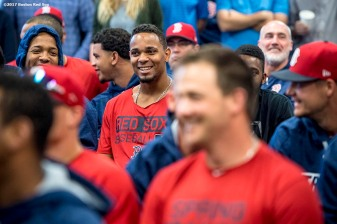 FT. MYERS, FL - FEBRUARY 17: Xander Bogaerts #2 of the Boston Red Sox reacts during a team meeting before a workout on February 17, 2017 at Fenway South in Fort Myers, Florida . (Photo by Billie Weiss/Boston Red Sox/Getty Images) *** Local Caption *** Xander Bogaerts