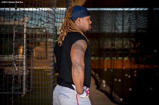 FT. MYERS, FL - FEBRUARY 17: Hanley Ramirez #13 of the Boston Red Sox takes batting practice in the cage during a team workout on February 17, 2017 at Fenway South in Fort Myers, Florida . (Photo by Billie Weiss/Boston Red Sox/Getty Images) *** Local Caption *** Hanley Ramirez