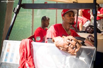FT. MYERS, FL - FEBRUARY 17: Xander Bogaerts #2 of the Boston Red Sox looks on as he sits in a golf cart during a team workout on February 17, 2017 at Fenway South in Fort Myers, Florida . (Photo by Billie Weiss/Boston Red Sox/Getty Images) *** Local Caption *** Xander Bogaerts
