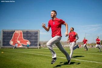 FT. MYERS, FL - FEBRUARY 17: Chris Sale #41 of the Boston Red Sox runs sprints during a team workout on February 17, 2017 at Fenway South in Fort Myers, Florida . (Photo by Billie Weiss/Boston Red Sox/Getty Images) *** Local Caption *** Chris Sale