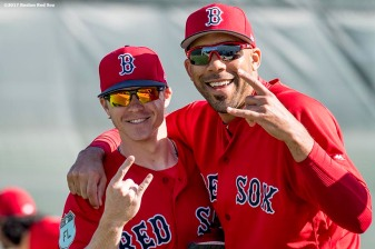 FT. MYERS, FL - FEBRUARY 17: Brock Holt #12 and David Price #24 of the Boston Red Sox react during a team workout on February 17, 2017 at Fenway South in Fort Myers, Florida . (Photo by Billie Weiss/Boston Red Sox/Getty Images) *** Local Caption *** Brock Holt; David Price