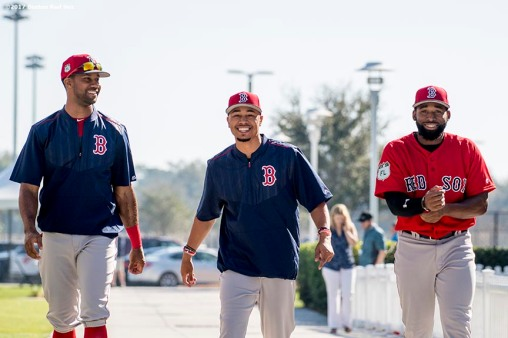 FT. MYERS, FL - FEBRUARY 17: Chris Young #30, Mookie Betts #50, and Jackie Bradley Jr. #19 of the Boston Red Sox react during a team workout on February 17, 2017 at Fenway South in Fort Myers, Florida . (Photo by Billie Weiss/Boston Red Sox/Getty Images) *** Local Caption *** Chris Young; Jackie Bradley Jr.; Mookie Betts