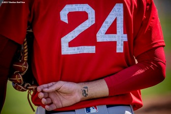 FT. MYERS, FL - FEBRUARY 17: The jersey of David Price #24 of the Boston Red Sox is shown during a team workout on February 17, 2017 at Fenway South in Fort Myers, Florida . (Photo by Billie Weiss/Boston Red Sox/Getty Images) *** Local Caption *** David Price