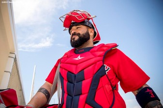 FT. MYERS, FL - FEBRUARY 18: Sandy Leon #3 of the Boston Red Sox walks onto the field during a team workout on February 18, 2017 at Fenway South in Fort Myers, Florida . (Photo by Billie Weiss/Boston Red Sox/Getty Images) *** Local Caption *** Sandy Leon