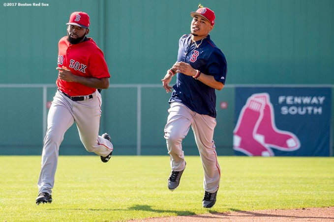 FT. MYERS, FL - FEBRUARY 18: Jackie Bradley Jr. #19 and Mookie Betts #50 of the Boston Red Sox run sprints during a team workout on February 18, 2017 at Fenway South in Fort Myers, Florida . (Photo by Billie Weiss/Boston Red Sox/Getty Images) *** Local Caption *** Jackie Bradley Jr.; Mookie Betts
