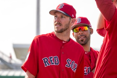 FT. MYERS, FL - FEBRUARY 18: David Price #24 and Chris Sale #41 of the Boston Red Sox react during a team workout on February 18, 2017 at Fenway South in Fort Myers, Florida . (Photo by Billie Weiss/Boston Red Sox/Getty Images) *** Local Caption *** David Price; Chris Sale