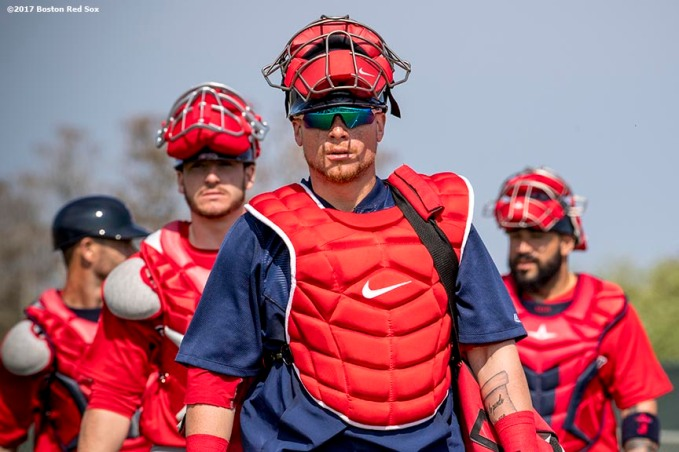 FT. MYERS, FL - FEBRUARY 18: Christian Vazquez #7 of the Boston Red Sox walk during a team workout on February 18, 2017 at Fenway South in Fort Myers, Florida . (Photo by Billie Weiss/Boston Red Sox/Getty Images) *** Local Caption *** Christian Vazquez