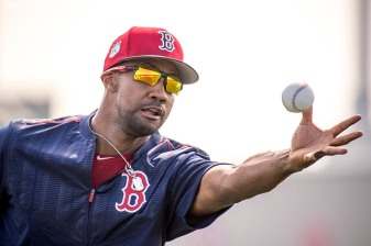 FT. MYERS, FL - FEBRUARY 18: Chris Young #30 of the Boston Red Sox catches a ball during a team workout on February 18, 2017 at Fenway South in Fort Myers, Florida . (Photo by Billie Weiss/Boston Red Sox/Getty Images) *** Local Caption *** Chris Young
