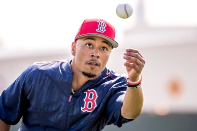 FT. MYERS, FL - FEBRUARY 18: Mookie Betts #50 of the Boston Red Sox catches a ball during a team workout on February 18, 2017 at Fenway South in Fort Myers, Florida . (Photo by Billie Weiss/Boston Red Sox/Getty Images) *** Local Caption *** Mookie Betts