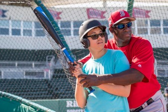 FT. MYERS, FL - FEBRUARY 19: Boston Red Sox hitting coach Chili Davis gives instructions during a CVS Clinic on February 19, 2017 at Fenway South in Fort Myers, Florida . (Photo by Billie Weiss/Boston Red Sox/Getty Images) *** Local Caption ***