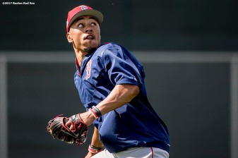 FT. MYERS, FL - FEBRUARY 19: Mookie Betts #50 of the Boston Red Sox tracks a fly ball during a team workout on February 19, 2017 at Fenway South in Fort Myers, Florida . (Photo by Billie Weiss/Boston Red Sox/Getty Images) *** Local Caption *** Mookie Betts