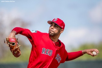 FT. MYERS, FL - FEBRUARY 19: David Price #24 of the Boston Red Sox pitches during a team workout on February 19, 2017 at Fenway South in Fort Myers, Florida . (Photo by Billie Weiss/Boston Red Sox/Getty Images) *** Local Caption *** David Price
