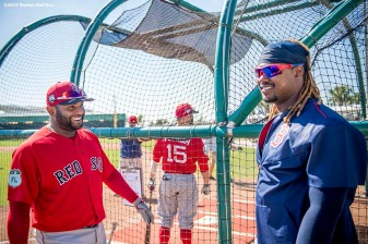 FT. MYERS, FL - FEBRUARY 20: Pablo Sandoval #48 reacts with Hanley Ramirez #13 of the Boston Red Sox during a team workout on February 20, 2017 at Fenway South in Fort Myers, Florida . (Photo by Billie Weiss/Boston Red Sox/Getty Images) *** Local Caption *** Pablo Sandoval; Hanley Ramirez