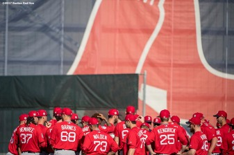 FT. MYERS, FL - FEBRUARY 20: Members of the Boston Red Sox meet during a team workout on February 20, 2017 at Fenway South in Fort Myers, Florida . (Photo by Billie Weiss/Boston Red Sox/Getty Images) *** Local Caption ***