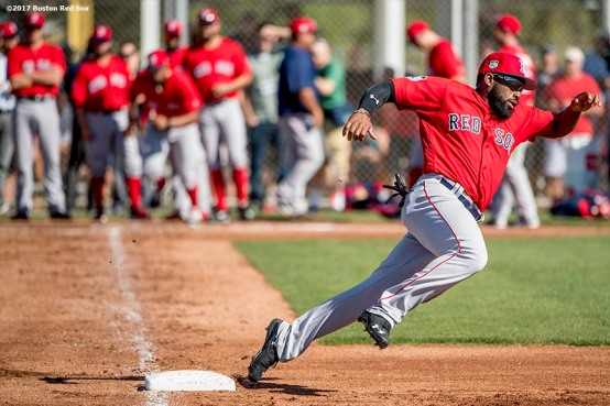 FT. MYERS, FL - FEBRUARY 20: Jackie Bradley Jr. #19 of the Boston Red Sox runs the bases during a team workout on February 20, 2017 at Fenway South in Fort Myers, Florida . (Photo by Billie Weiss/Boston Red Sox/Getty Images) *** Local Caption *** Jackie Bradley Jr.