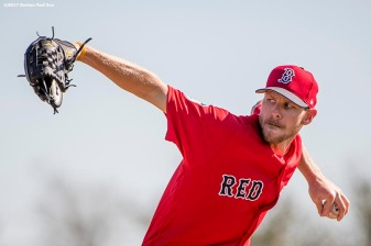 FT. MYERS, FL - FEBRUARY 20: Chris Sale #41 of the Boston Red Sox pitches during a team workout on February 20, 2017 at Fenway South in Fort Myers, Florida . (Photo by Billie Weiss/Boston Red Sox/Getty Images) *** Local Caption *** Chris Sale