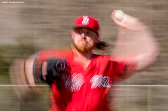 FT. MYERS, FL - FEBRUARY 20: Robbie Ross Jr. #28 of the Boston Red Sox pitches during a team workout on February 20, 2017 at Fenway South in Fort Myers, Florida . (Photo by Billie Weiss/Boston Red Sox/Getty Images) *** Local Caption *** Robbie Ross Jr.