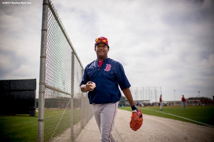 FT. MYERS, FL - FEBRUARY 21: Former pitcher Pedro Martinez of the Boston Red Sox reacts during a team workout on February 21, 2017 at Fenway South in Fort Myers, Florida . (Photo by Billie Weiss/Boston Red Sox/Getty Images) *** Local Caption *** Pedro Martinez