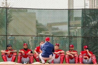 FT. MYERS, FL - FEBRUARY 21: Blake Swihart #23, Sandy Leon #3, Christian Vazquez #7; Jake DePew #77; Dan Butler #70, and Jordan Procyshen #80 of the Boston Red Sox look on during a team workout on February 21, 2017 at Fenway South in Fort Myers, Florida . (Photo by Billie Weiss/Boston Red Sox/Getty Images) *** Local Caption *** Blake Swihart; Sandy Leon; Christian Vazquez; Jordan Procyshen; Jake DePew; Dan Butler