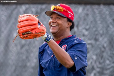 FT. MYERS, FL - FEBRUARY 21: Former Boston Red Sox pitcher Pedro Martinez of the Boston Red Sox reacts during a team workout on February 21, 2017 at Fenway South in Fort Myers, Florida . (Photo by Billie Weiss/Boston Red Sox/Getty Images) *** Local Caption *** Pedro Martinez