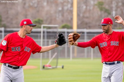 FT. MYERS, FL - FEBRUARY 21: Rick Porcello #22 and David Price #24 of the Boston Red Sox high five during a team workout on February 21, 2017 at Fenway South in Fort Myers, Florida . (Photo by Billie Weiss/Boston Red Sox/Getty Images) *** Local Caption *** Rick Porcello; David Price