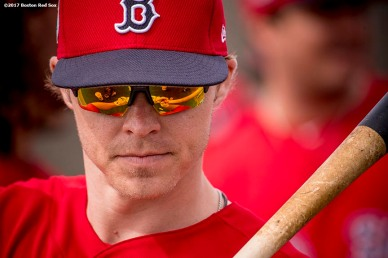 FT. MYERS, FL - FEBRUARY 21: Brock Holt #12 of the Boston Red Sox looks on during a team workout on February 21, 2017 at Fenway South in Fort Myers, Florida . (Photo by Billie Weiss/Boston Red Sox/Getty Images) *** Local Caption *** Brock Holt